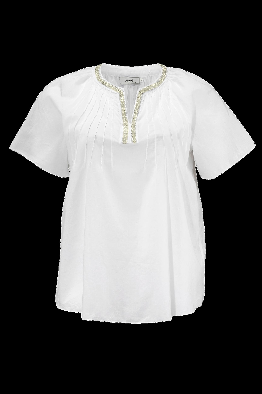 Bluse med perler Zizzi Skjorter & bluser til Kvinder i Hvid