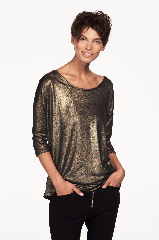 Top med metallic skær Ellos Toppe & tank-toppe til Kvinder i Sort/guldfarvet