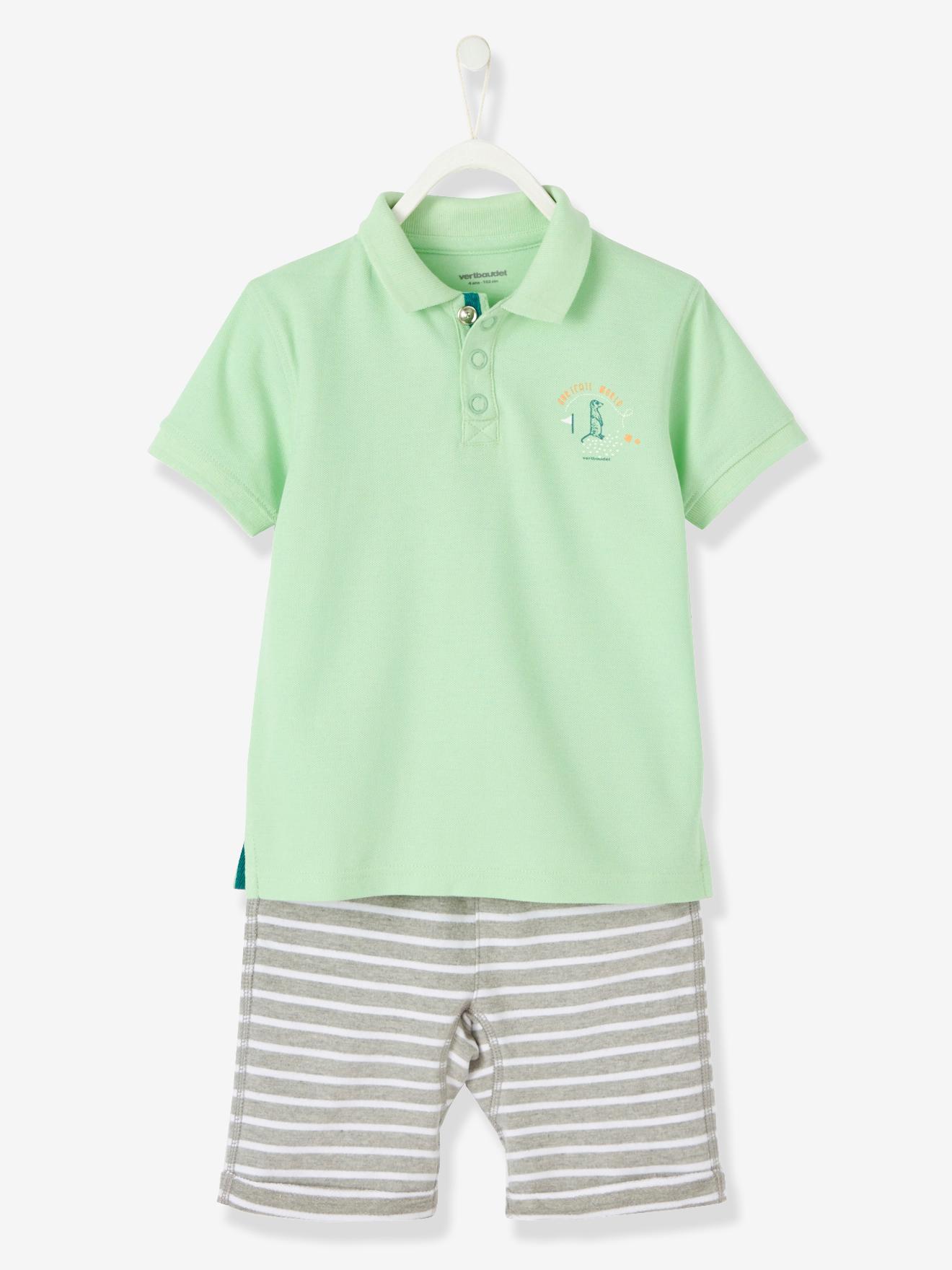 Poloshirt + shorts Vertbaudet T-shirts til Børn i Brun+grå