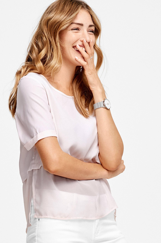 Bluse med chiffon Ellos Skjorter & bluser til Kvinder i Rosa