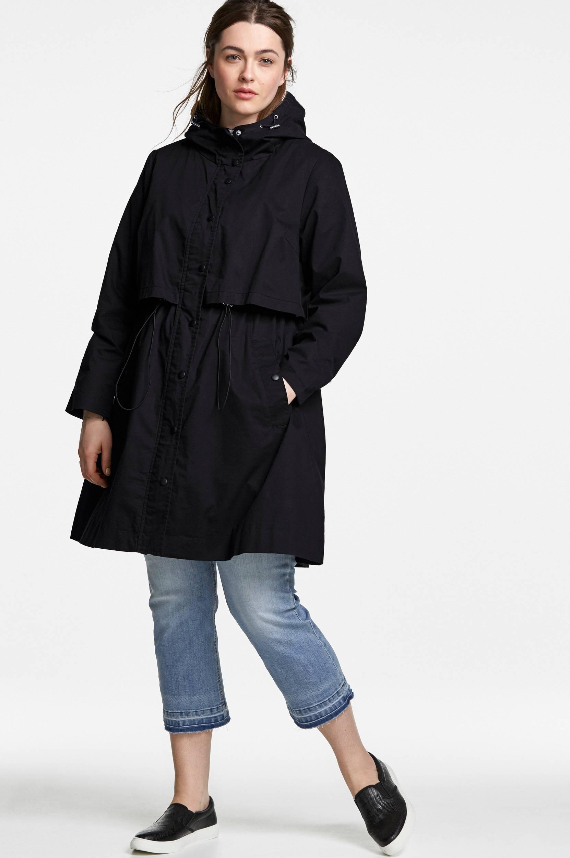 Frakke med hætte Ellos Jakker & frakker til Kvinder i Sort
