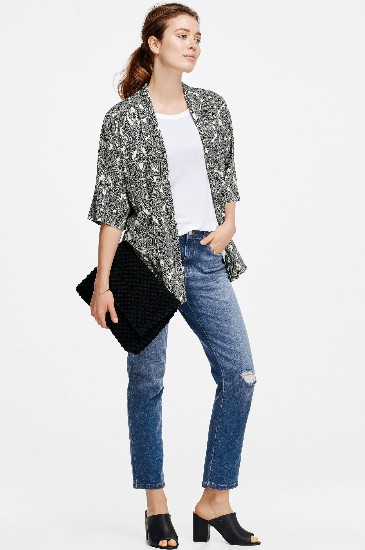 Kimono i oversizemodel Ellos Skjorter & bluser til Kvinder i Sort mønstret