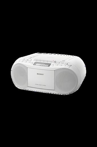 CFD-S70 Boombox, jossa CD-/kasettisoitin ja radio, valkoinen