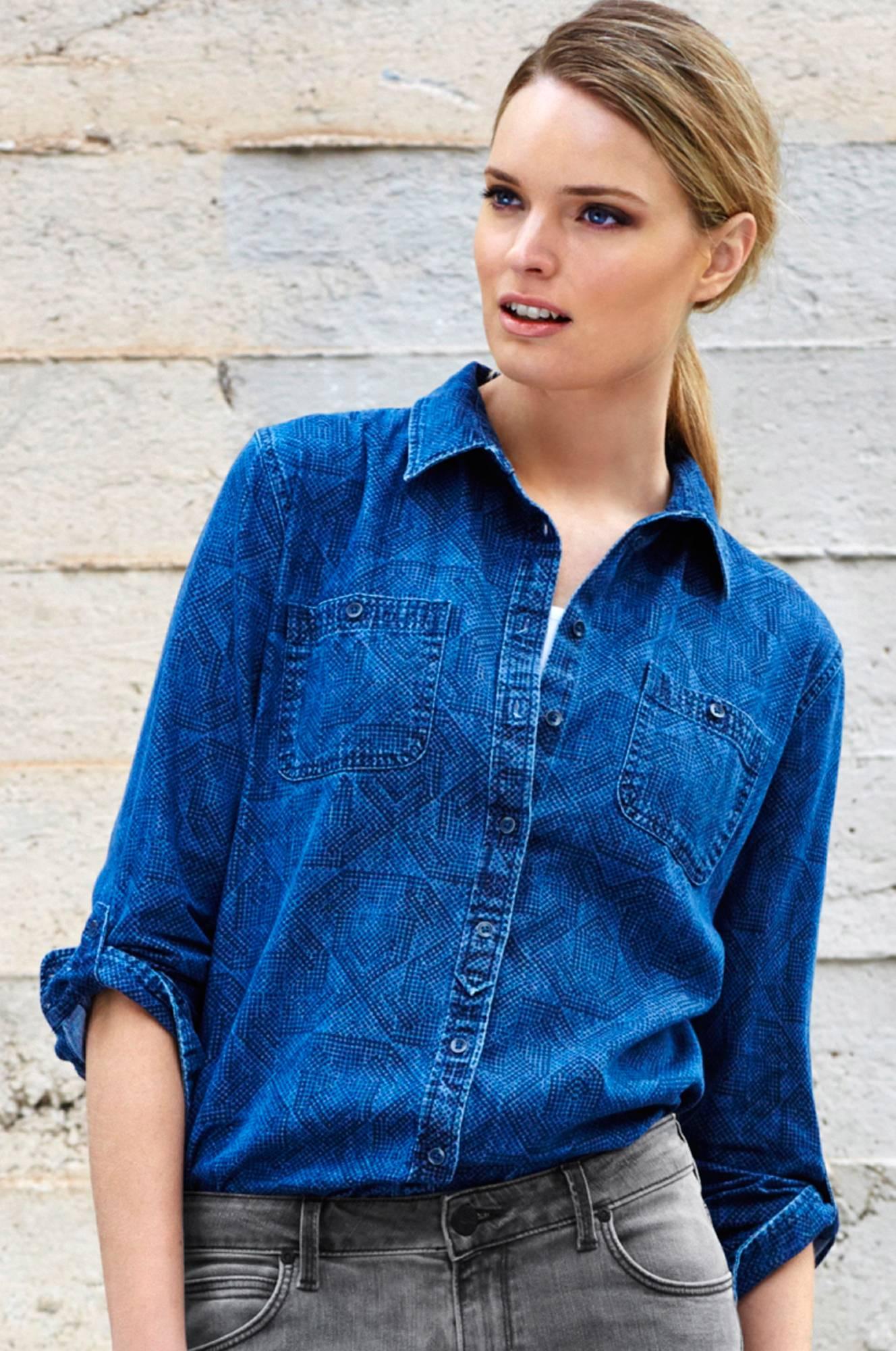 Denimskjorte Lee Skjorter & bluser til Kvinder i Blue Ice/ blåmønstret