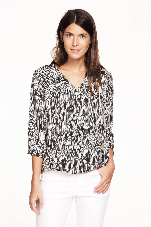 Slå-om-bluse med V-hals Ellos Skjorter & bluser til Kvinder i Sort/hvidmønstret