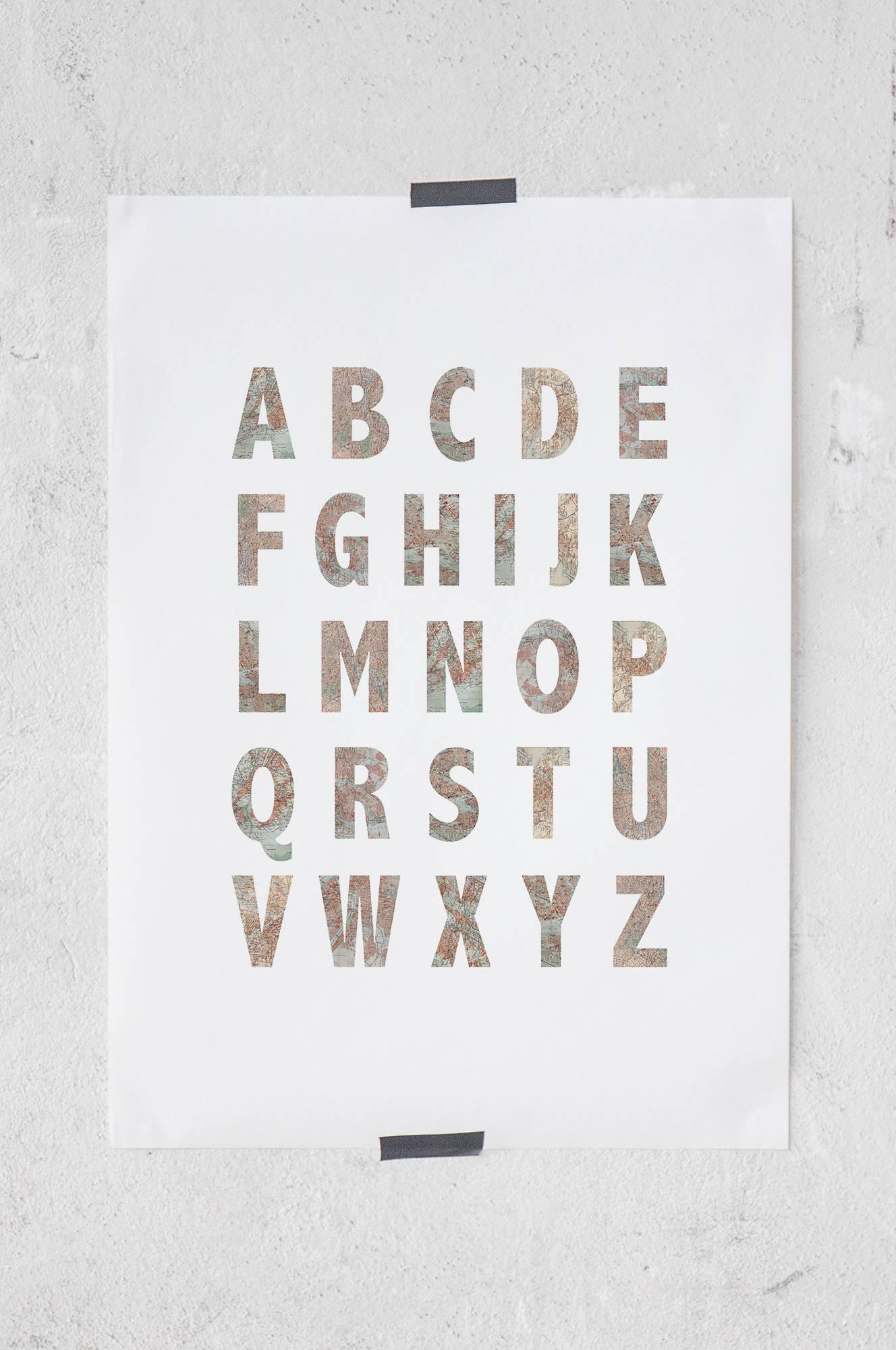 Map alphabet -juliste 50x70 cm