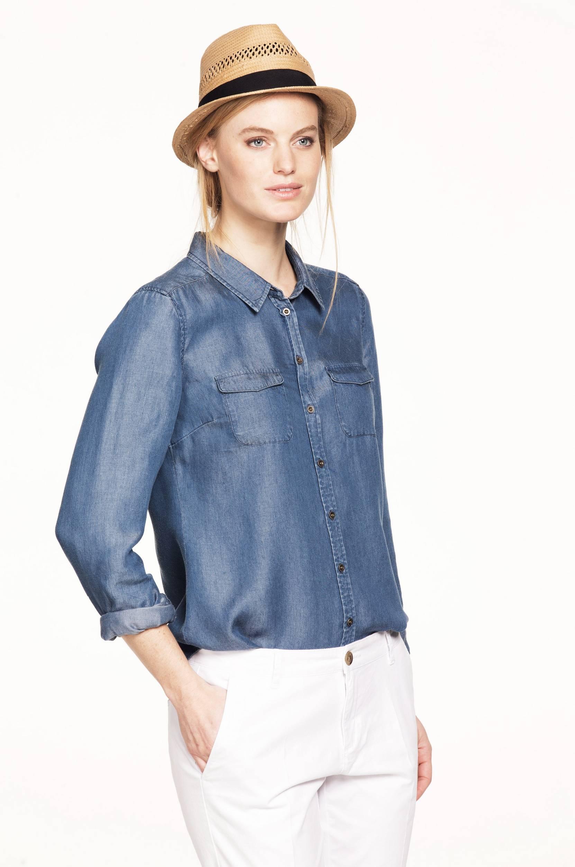 Denimskjorta Ellos Skjorter & bluser til Kvinder i Denimblå