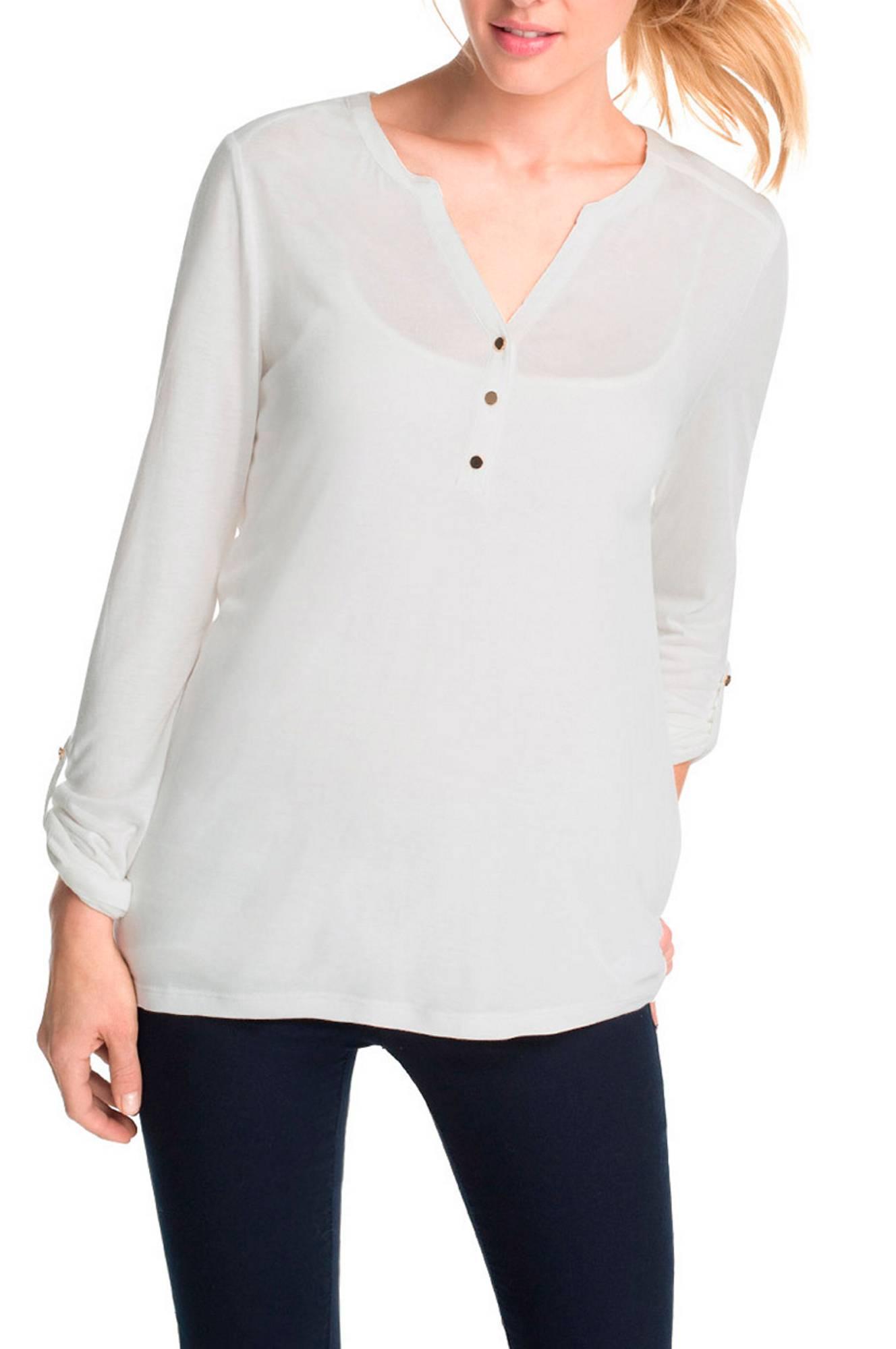 Jerseytop med polyester Esprit Toppe & tank-toppe til Kvinder i Offwhite