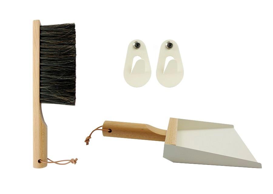 Gaveæske med håndbørste, fejebakke og kroge André Jardin Rengøringsredskaber til Boligen i Hvid/creme