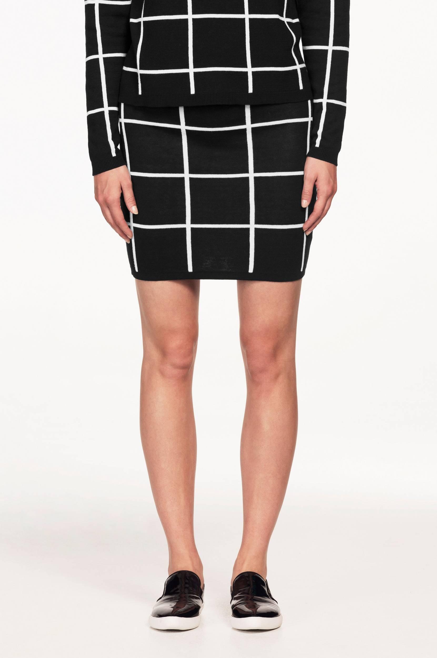 Mønsterstrikket nederdel Ellos Nederdele til Kvinder i Sort/hvidmønstret