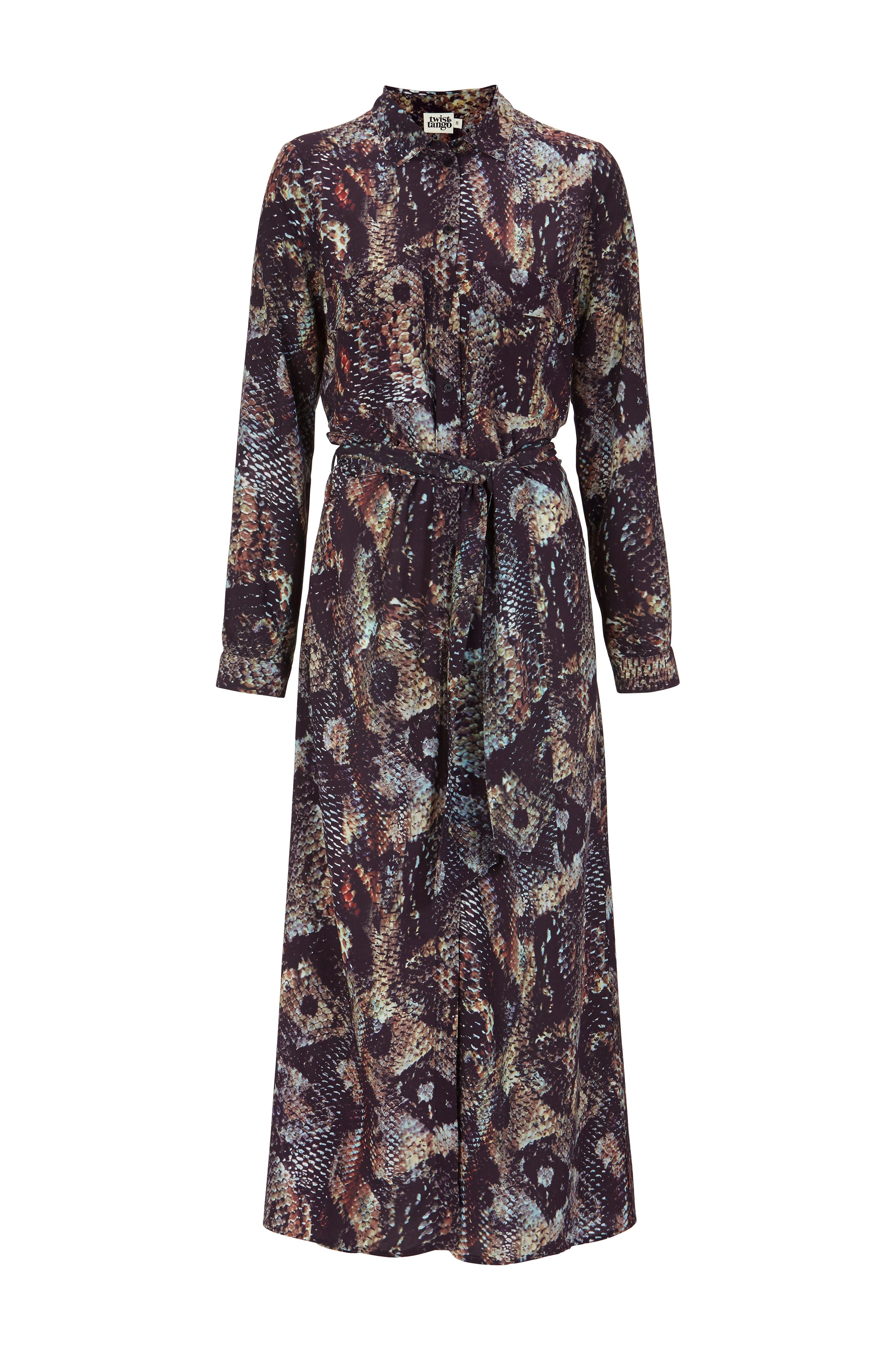 klänning två lager röd brun line