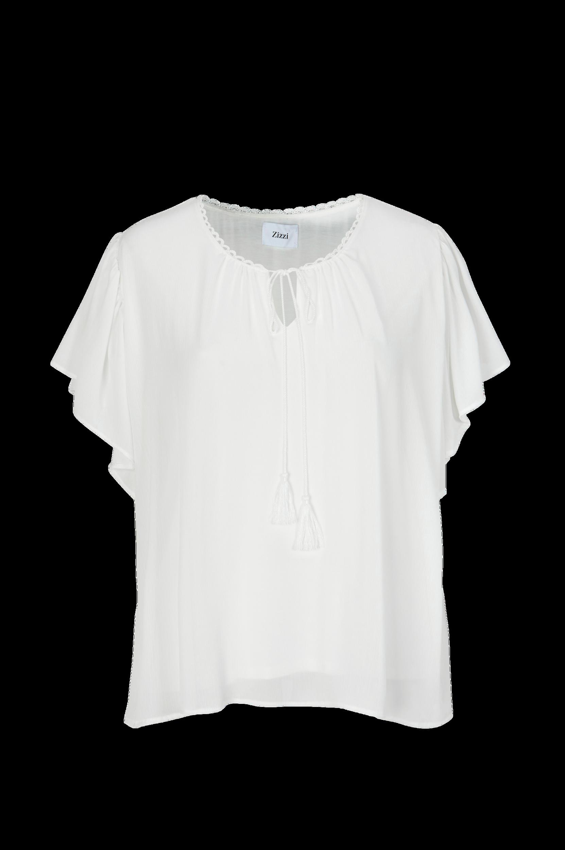 Bluse med kort, vidt ærme Zizzi Skjorter & bluser til Kvinder i Offwhite