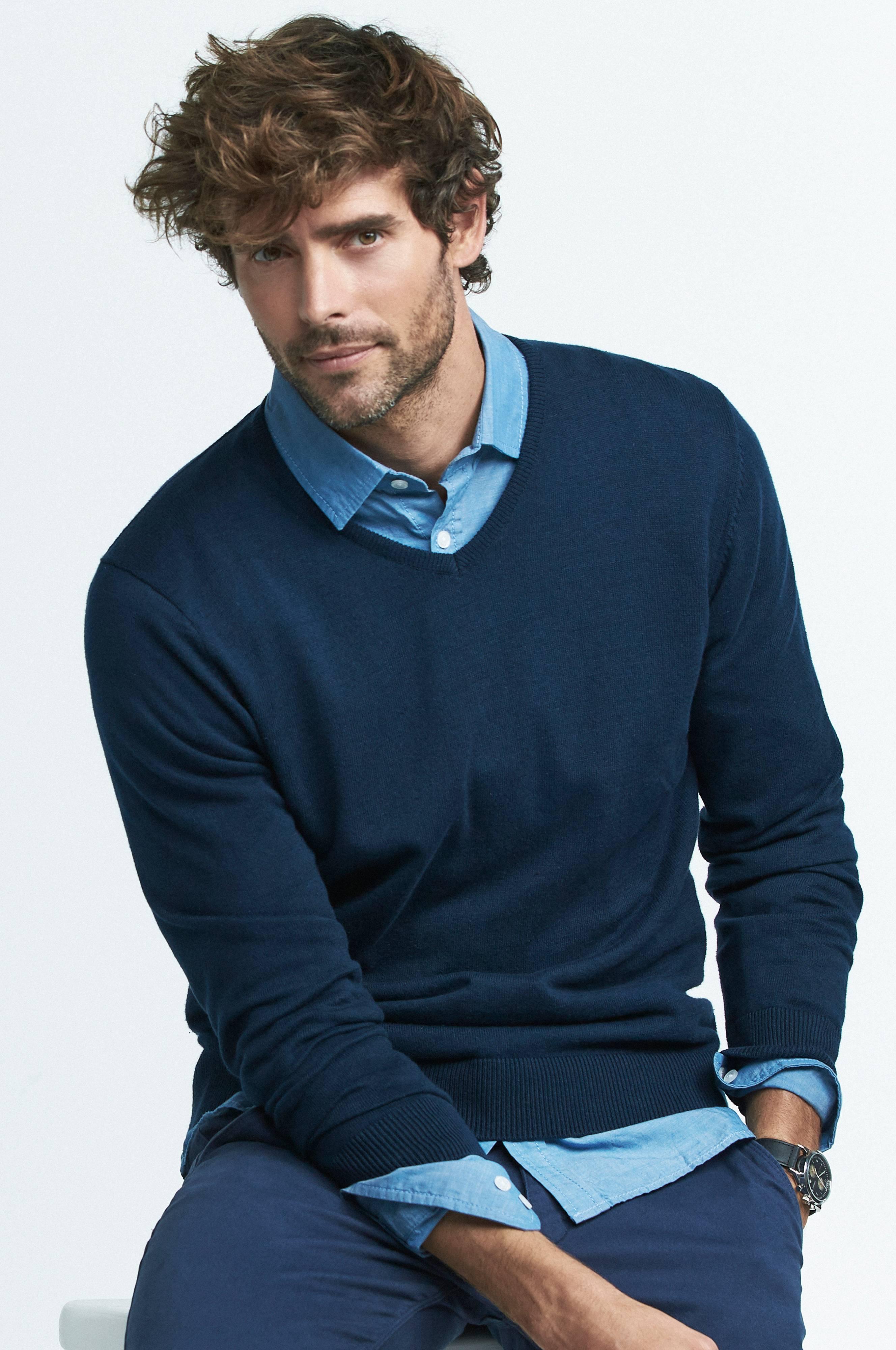 Ellos Men Genser og skjorte i sett Blå Strikkegensere