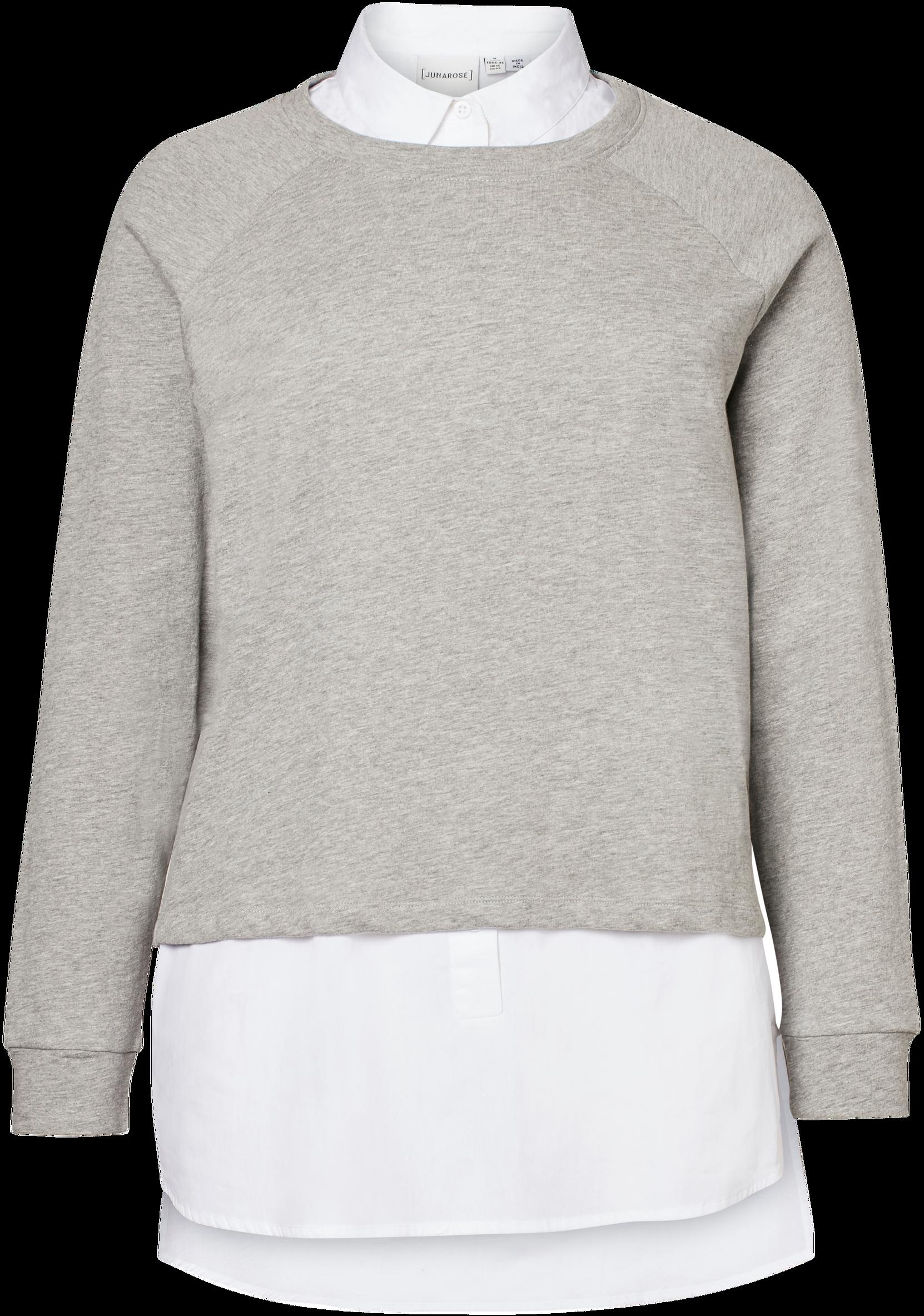 Skjortebluse jrSienna med trøje Junarose Skjorter & bluser til Kvinder i Gråmeleret + hvid