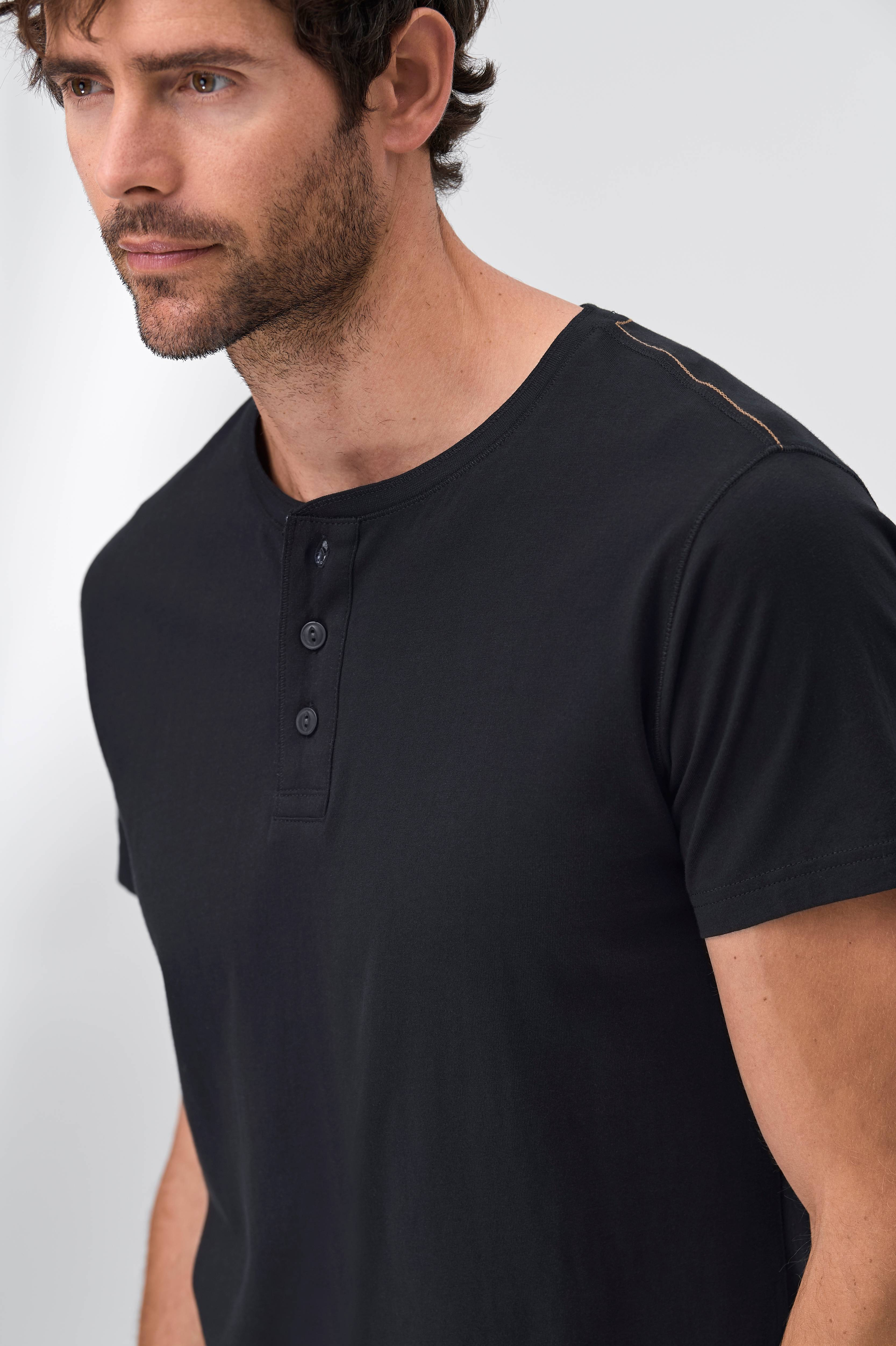 Ellos Men T shirt med knapper Sort Herre Ellos.dk