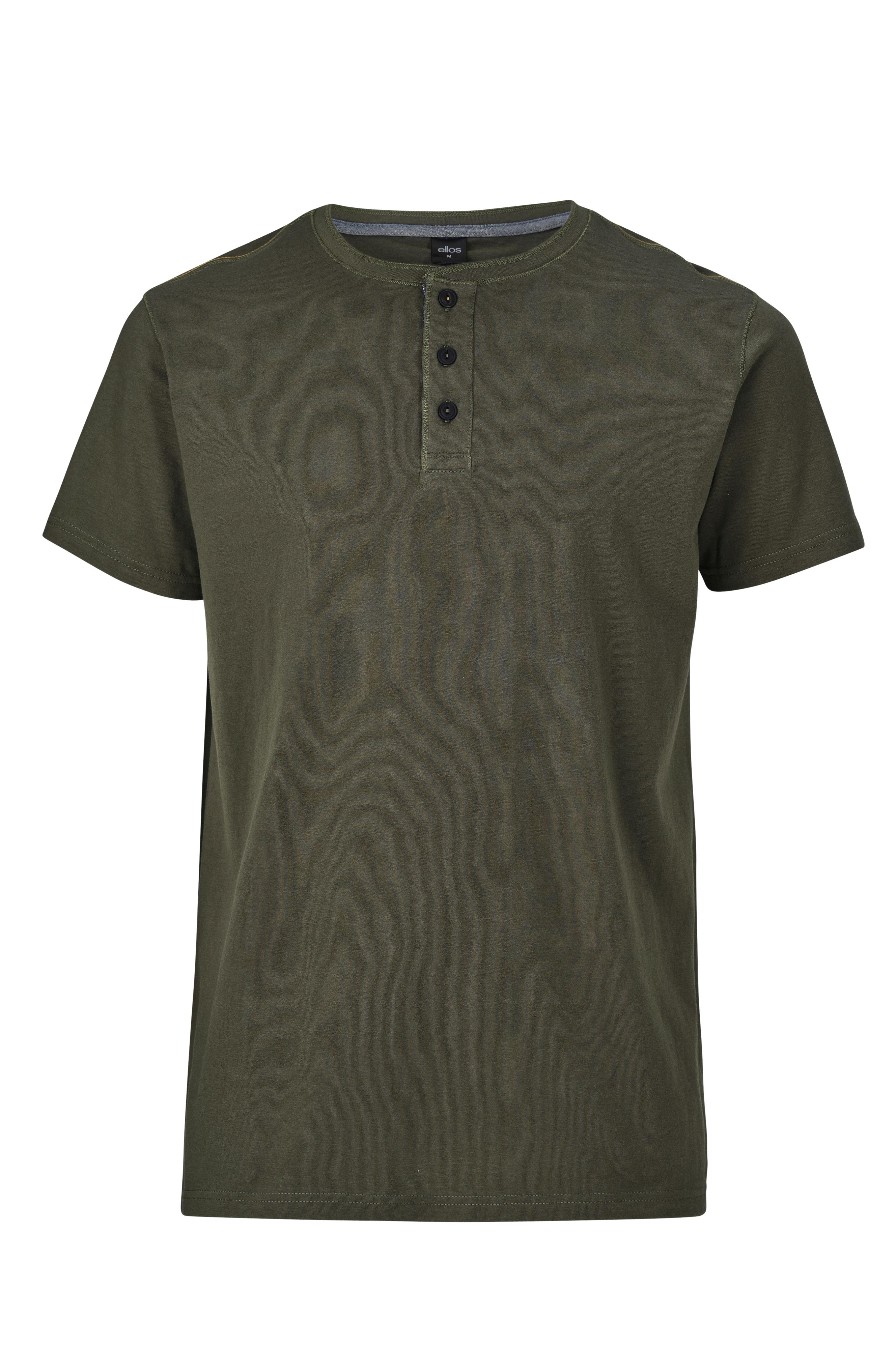 Ellos Men T shirt med knapper Grøn Herre Ellos.dk