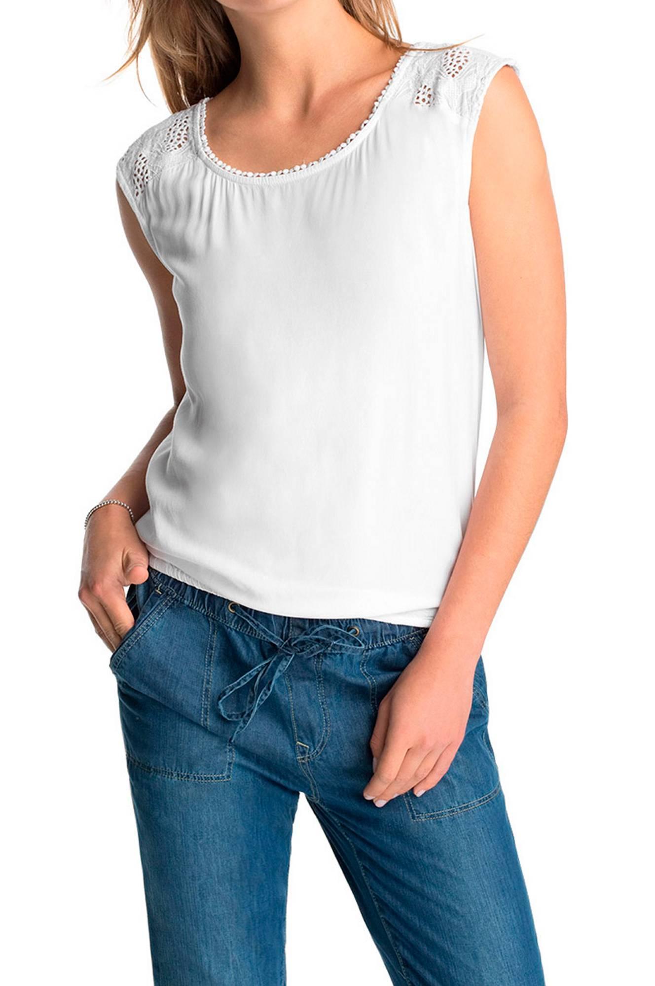 Bluse med slå om-effekt ryg Esprit Toppe & tank-toppe til Kvinder i Hvid