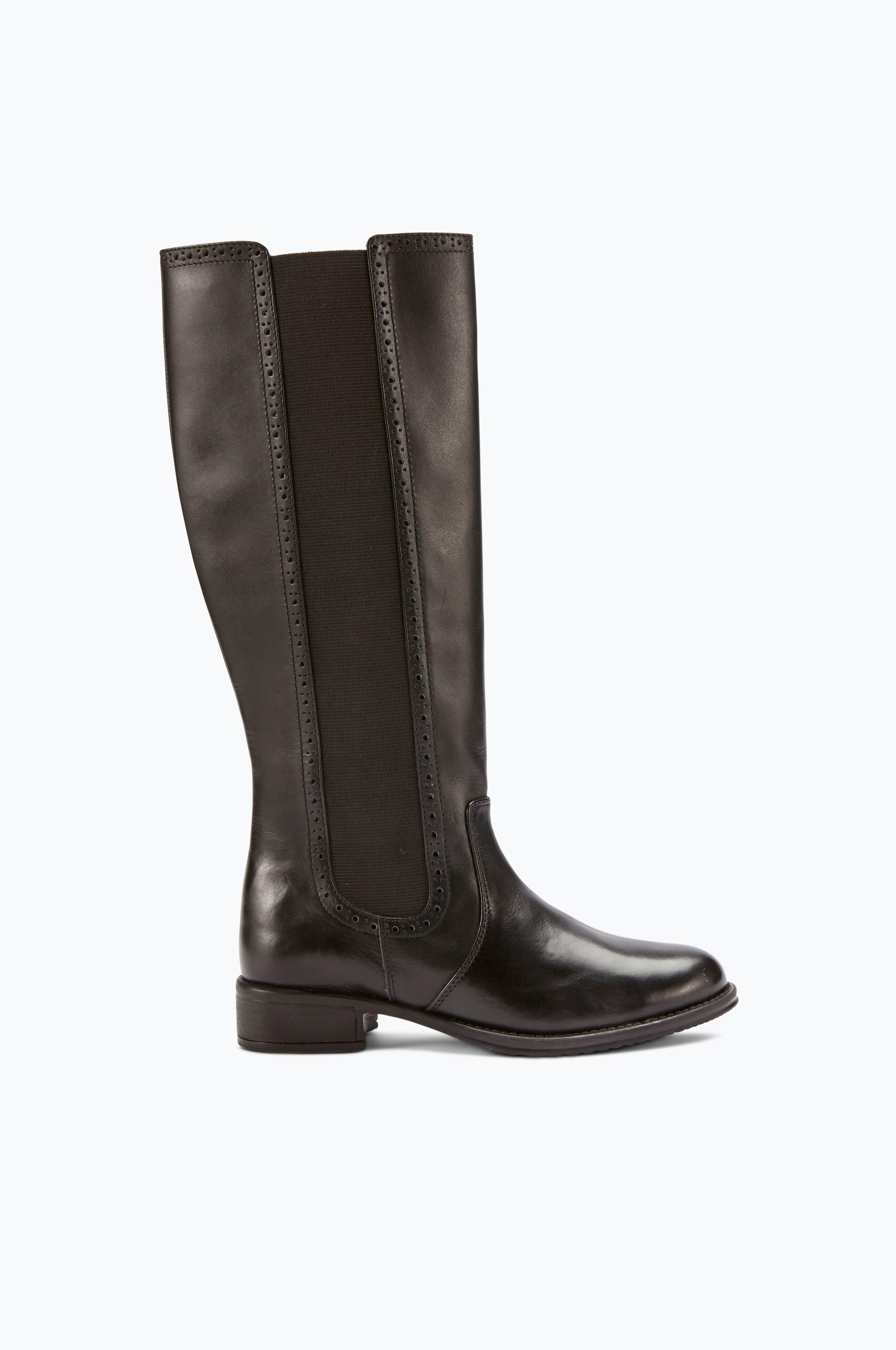 Ellos Shoes Stövel i skinn med olika skaftvidd Svart