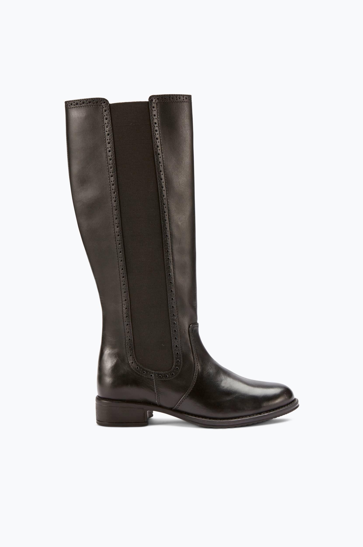 Støvle i skind med forskellige skaftvidder Ellos Støvler til Kvinder i Sort