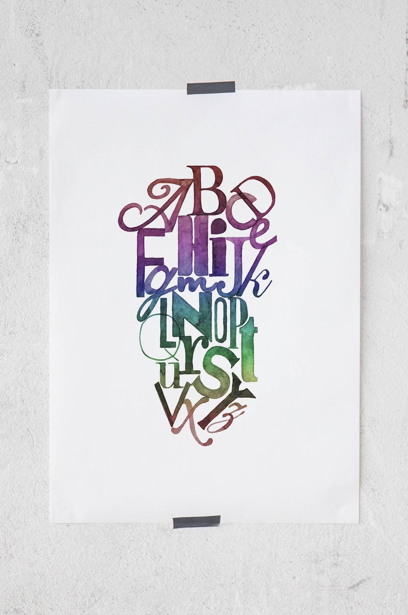 Ink letter -juliste 50x70 cm