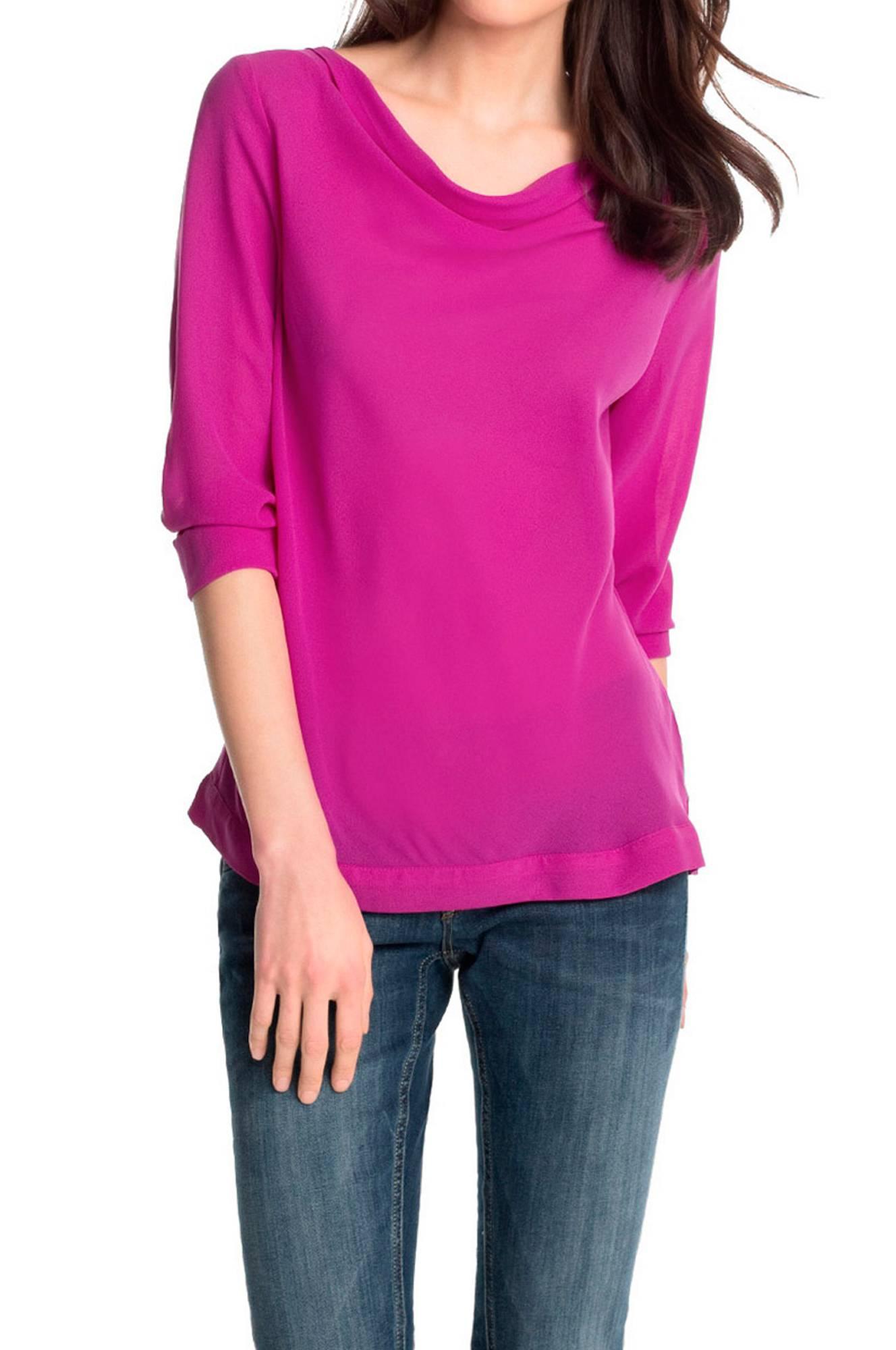 Bluse med draperet hals Esprit Skjorter & bluser til Kvinder i Cerise