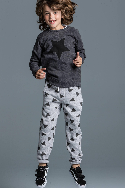 Joggingbuks med børstet inderside Ellos Bukser & shorts til Børn i Gråmønstret