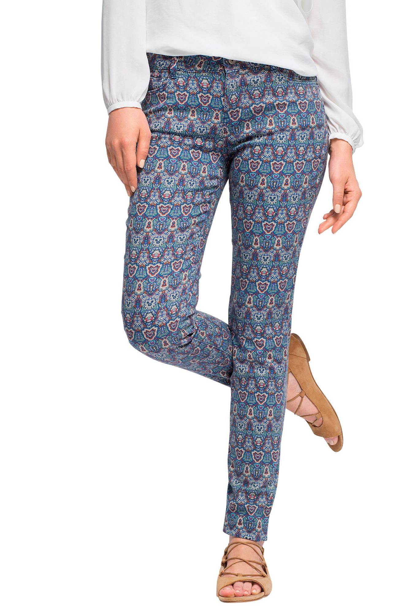 Buks mønstret slim fit Esprit Bukser til Kvinder i Blåmønstret