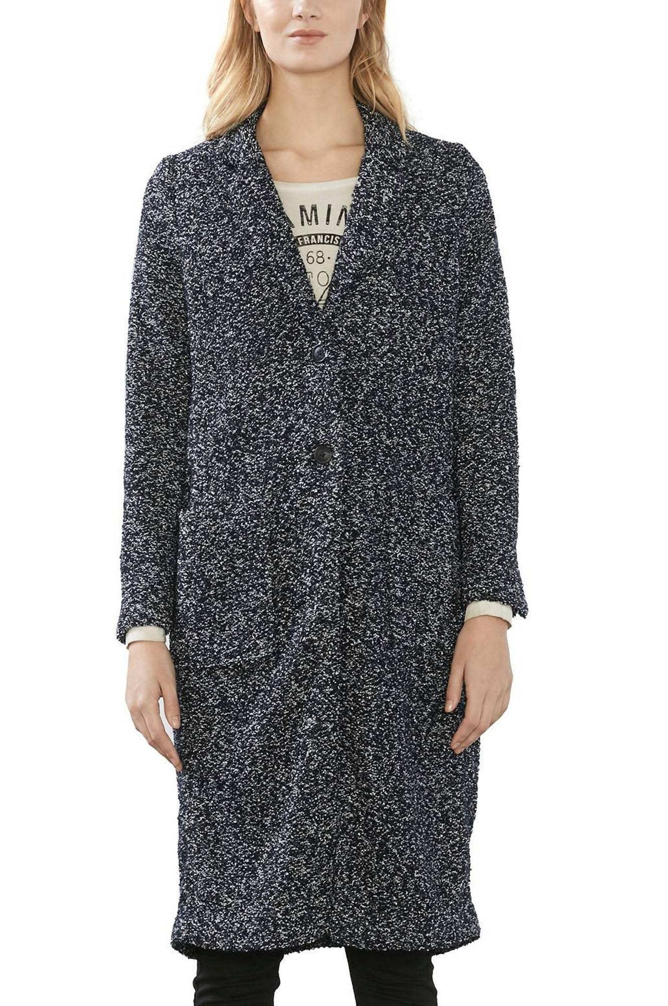 Frakke i uldblanding Esprit Jakker & frakker til Kvinder i Marineblå