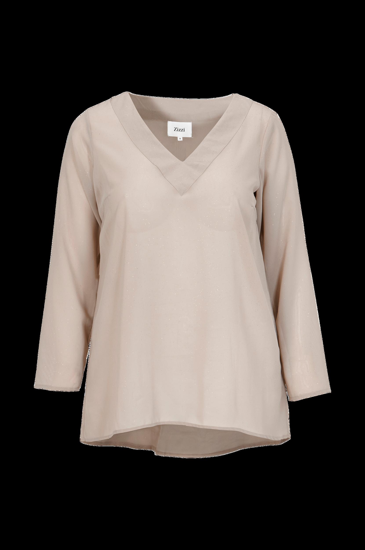 Bluse Af Chiffon Zizzi Skjorter & bluser til Kvinder i Beigegrå