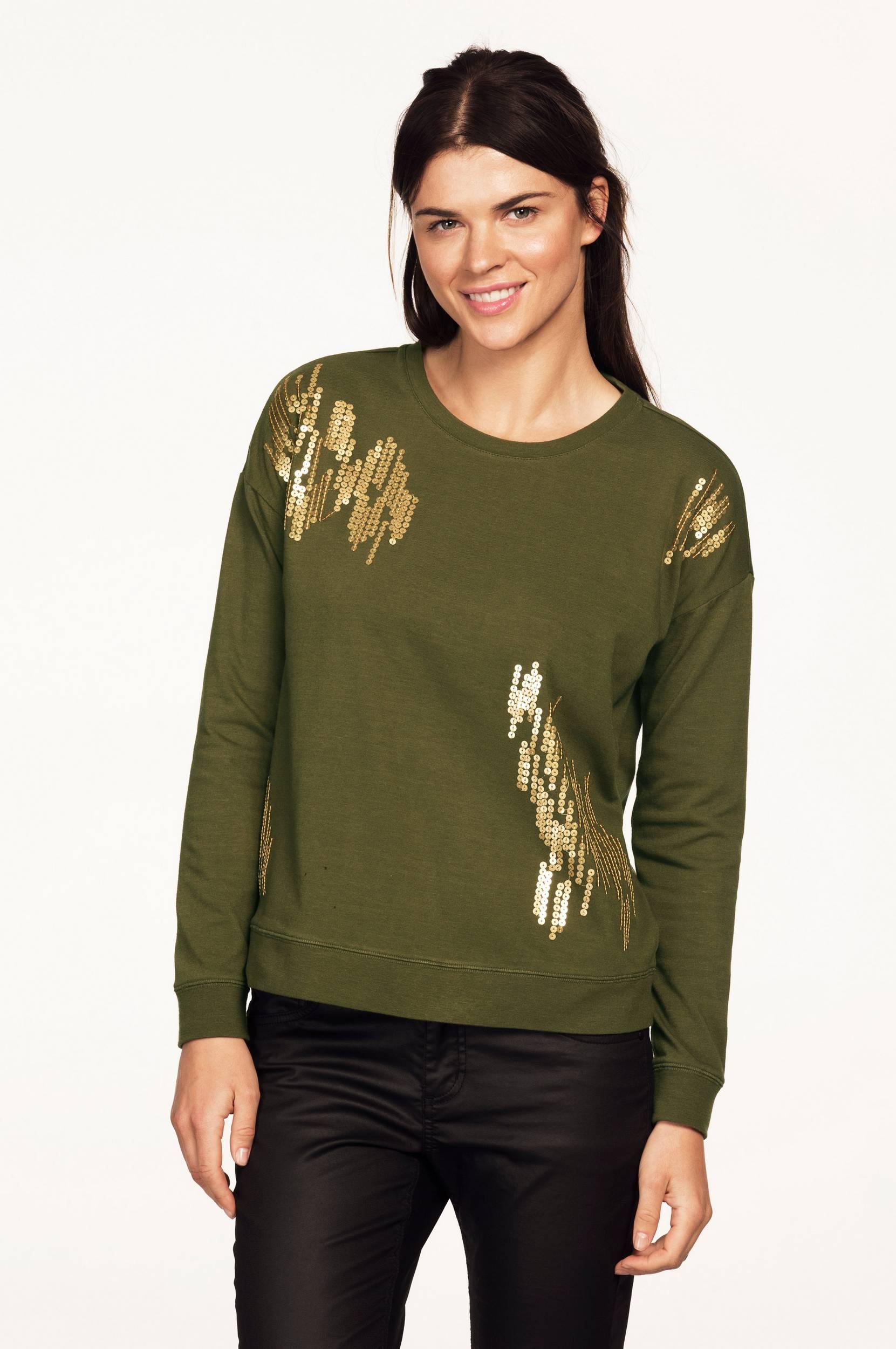 Sweatshirt med pailletter Ellos Trøjer & cardigans til Kvinder i Olivengrøn