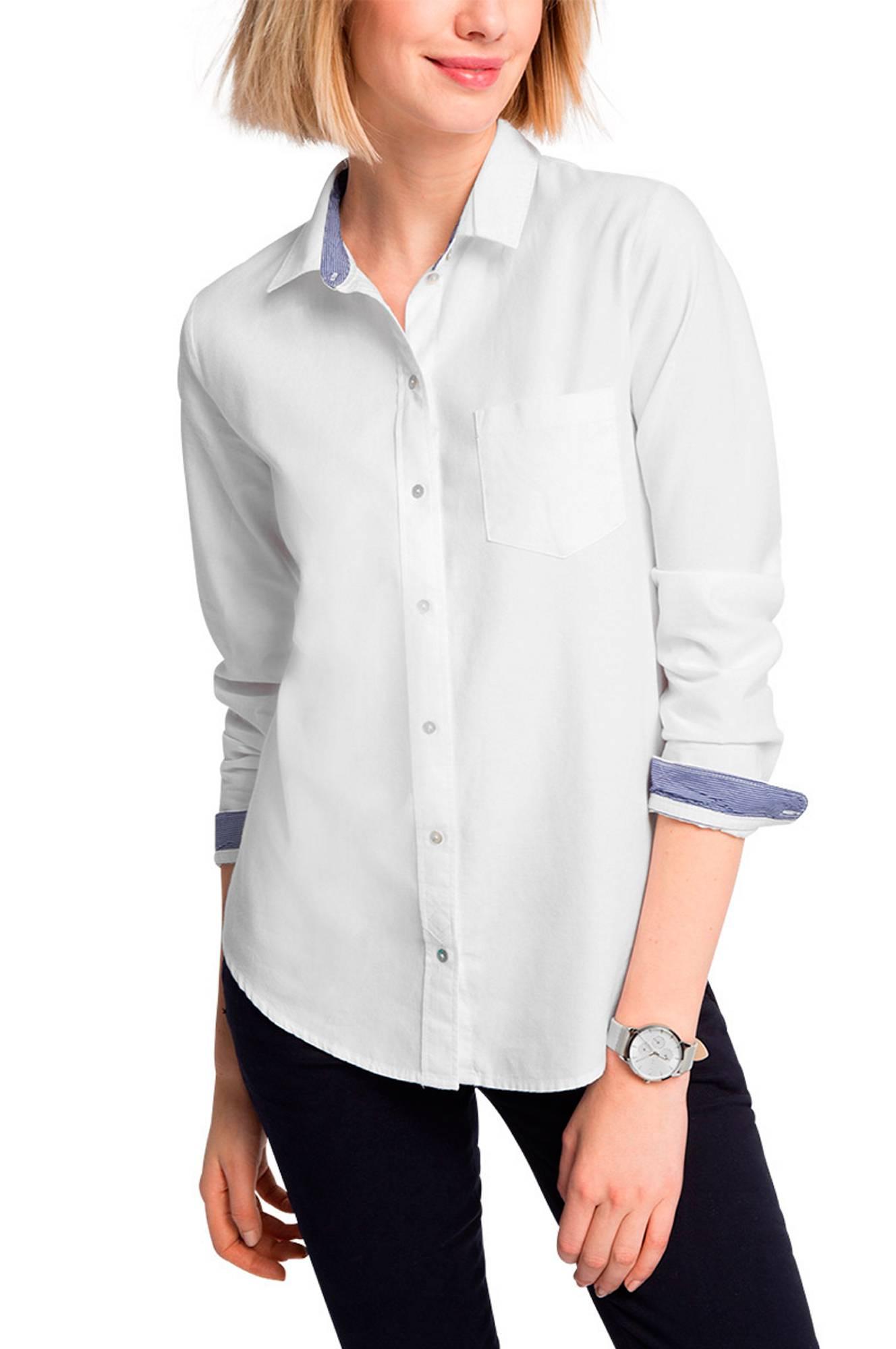 8739eefb42c Skjortebluse med stribede detaljer Esprit Skjorter & bluser til Kvinder i  Hvid