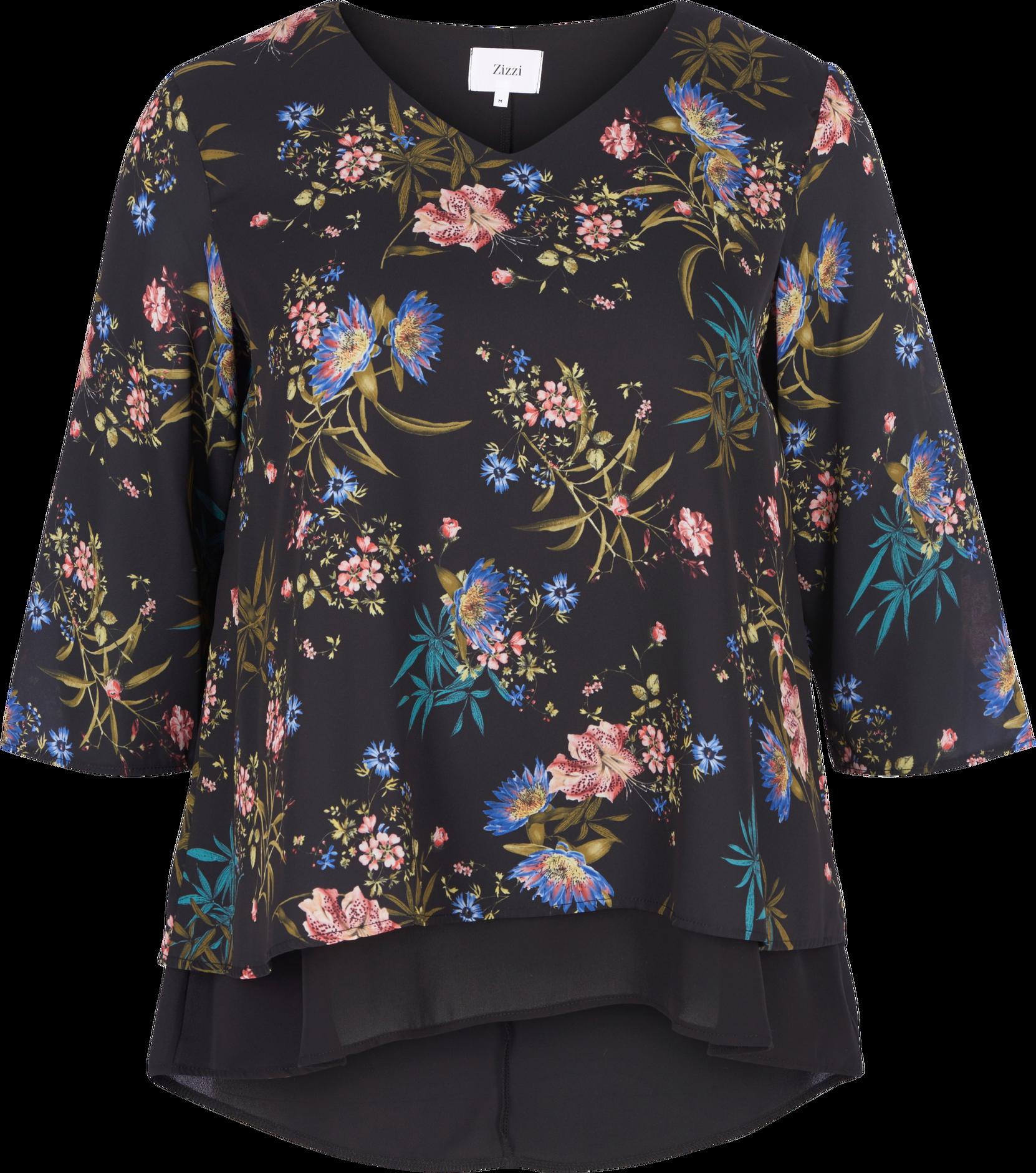Bluse, foret Zizzi Skjorter & bluser til Kvinder i Sortmønstret