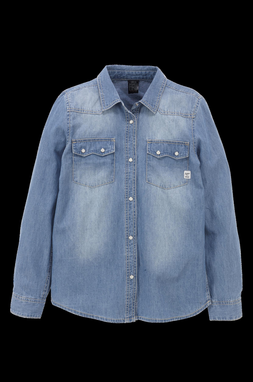 Denimskjorte med perlemorstrykknapper Ellos Skjorter til Børn i Blå denim
