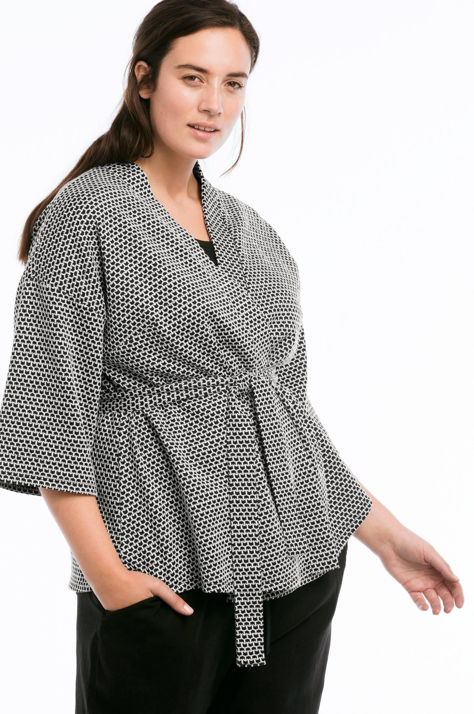 00c61762b961 Kimono af jersey Ellos Skjorter   bluser til Kvinder i Sort hvid