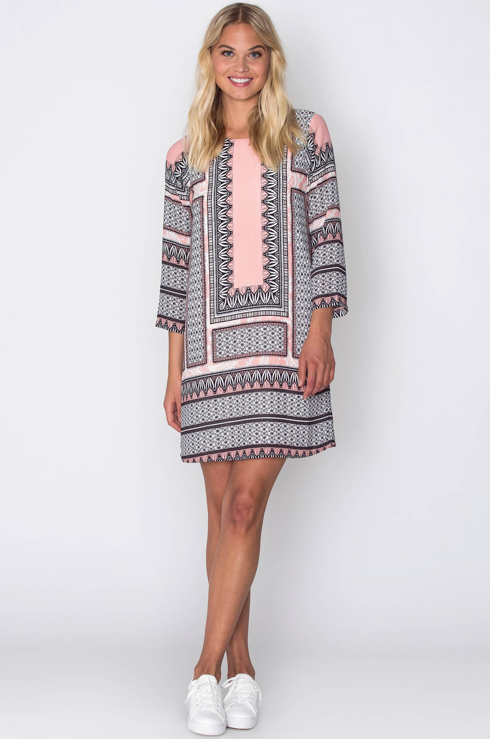 Kjole Attraction Sleeve Dress Dry Lake Kjoler til Kvinder i Rosamønstret/labyrinth print