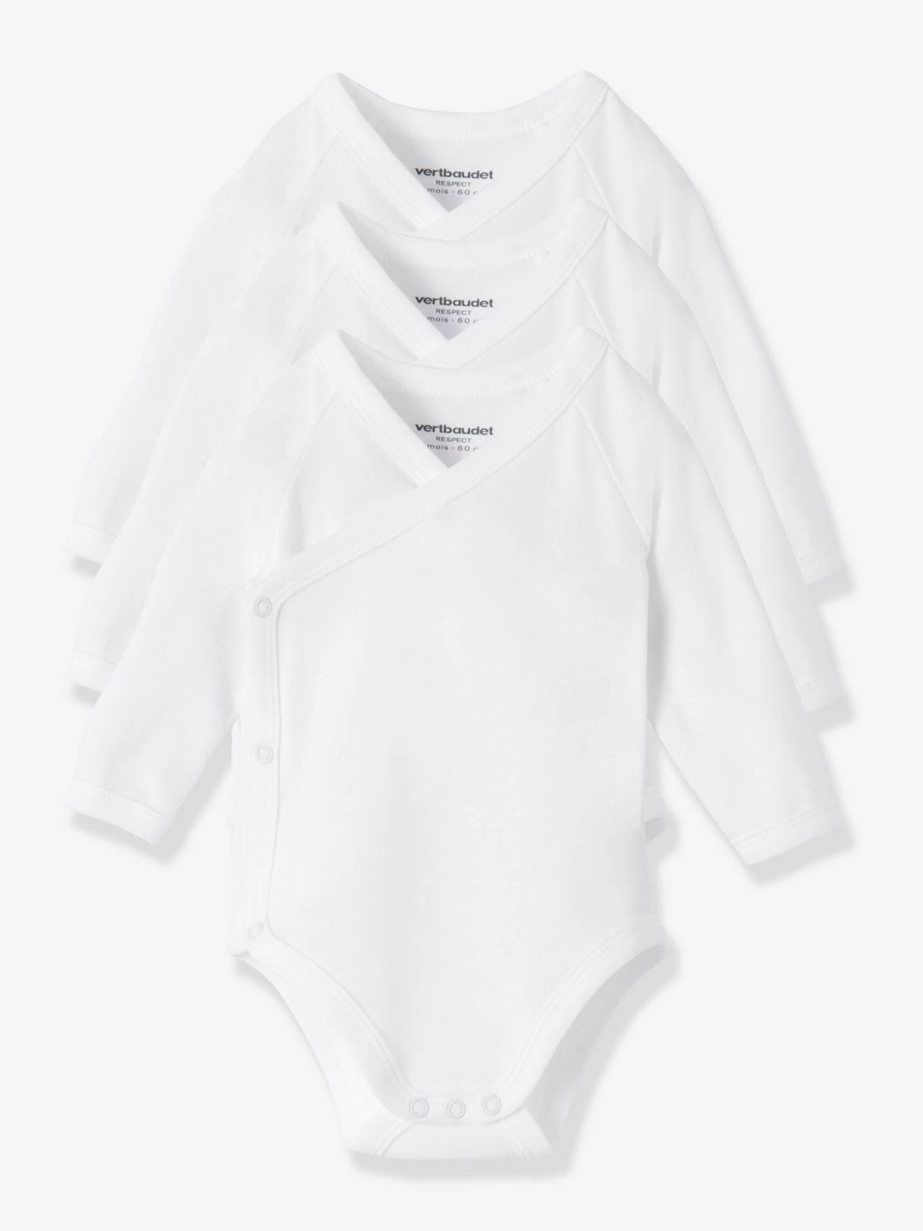 Body af økologisk bomuld – 3-pak Vertbaudet Babybodyer & heldragter til Børn i 3 x hvid