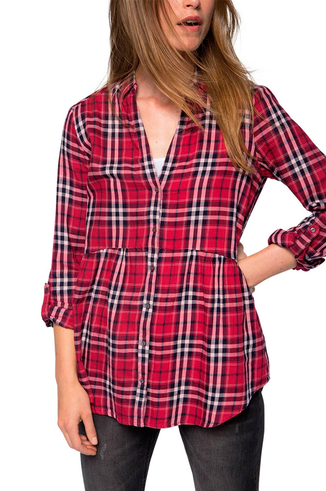 Bluse A-formet Esprit Skjorter & bluser til Kvinder i Mørkerød