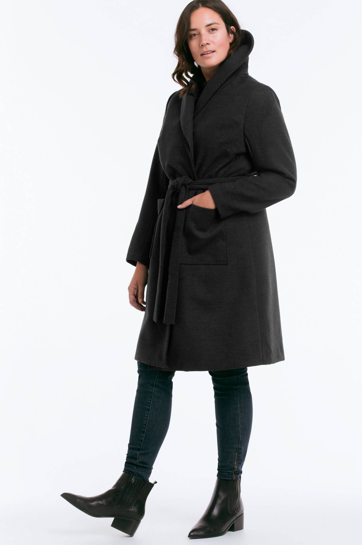 Frakke med sjalskrave Ellos Jakker & frakker til Kvinder i Mørkegrå