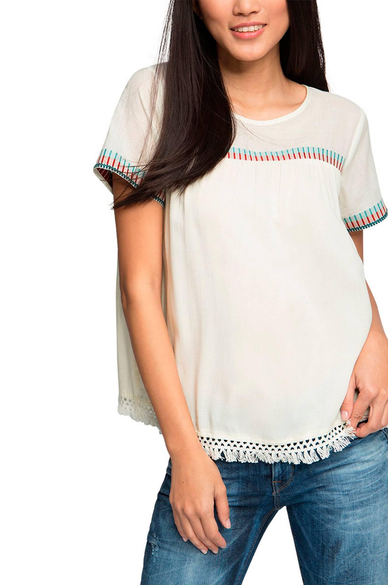 Bluse med hæklet blonde Esprit Skjorter & bluser til Kvinder i Offwhite