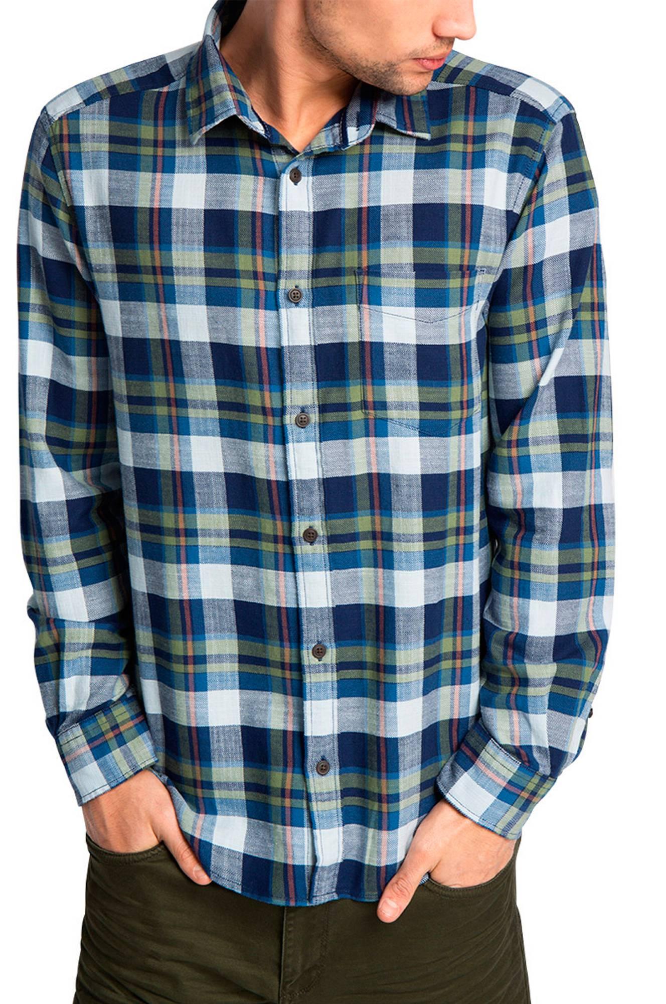 Skjorte med tern Esprit Skjorter til Mænd i Blå/grønternet