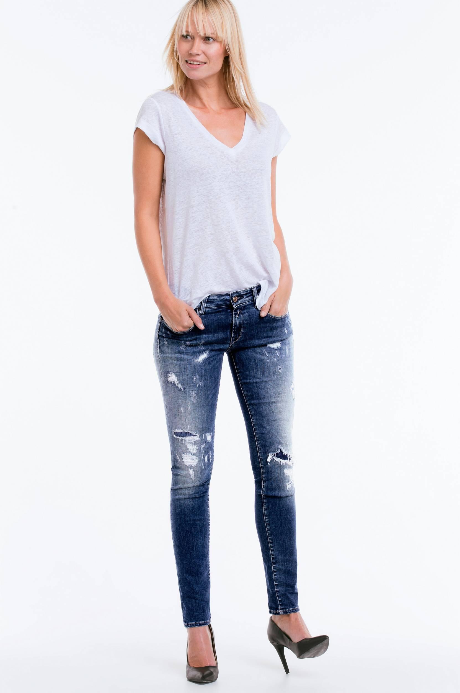 Jeans Rose, slim fit Replay Jeans til Kvinder i Blå slidt