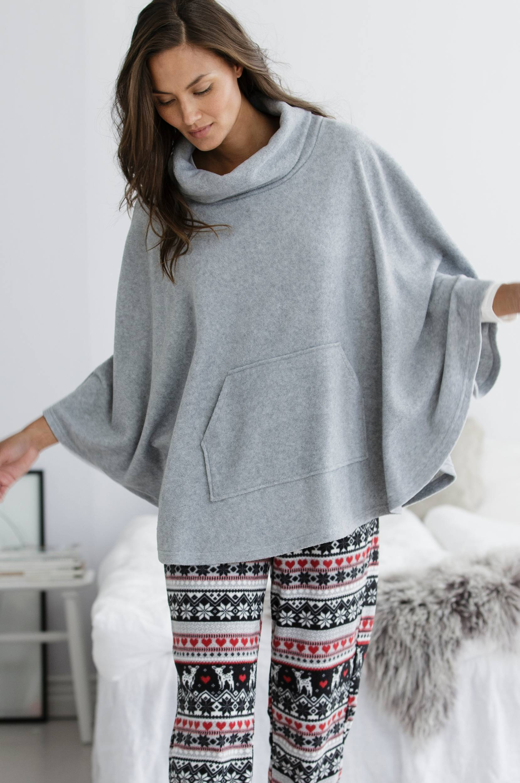 Poncho af fleece Ellos Nat- & hjemmetøj til Kvinder i Gråmeleret