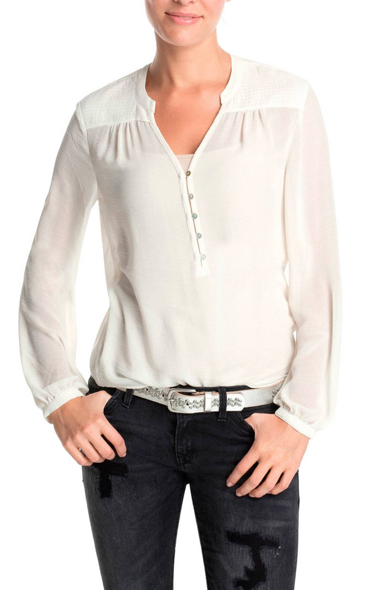 Bluse med pyntestikning Esprit Skjorter & bluser til Kvinder i Offwhite