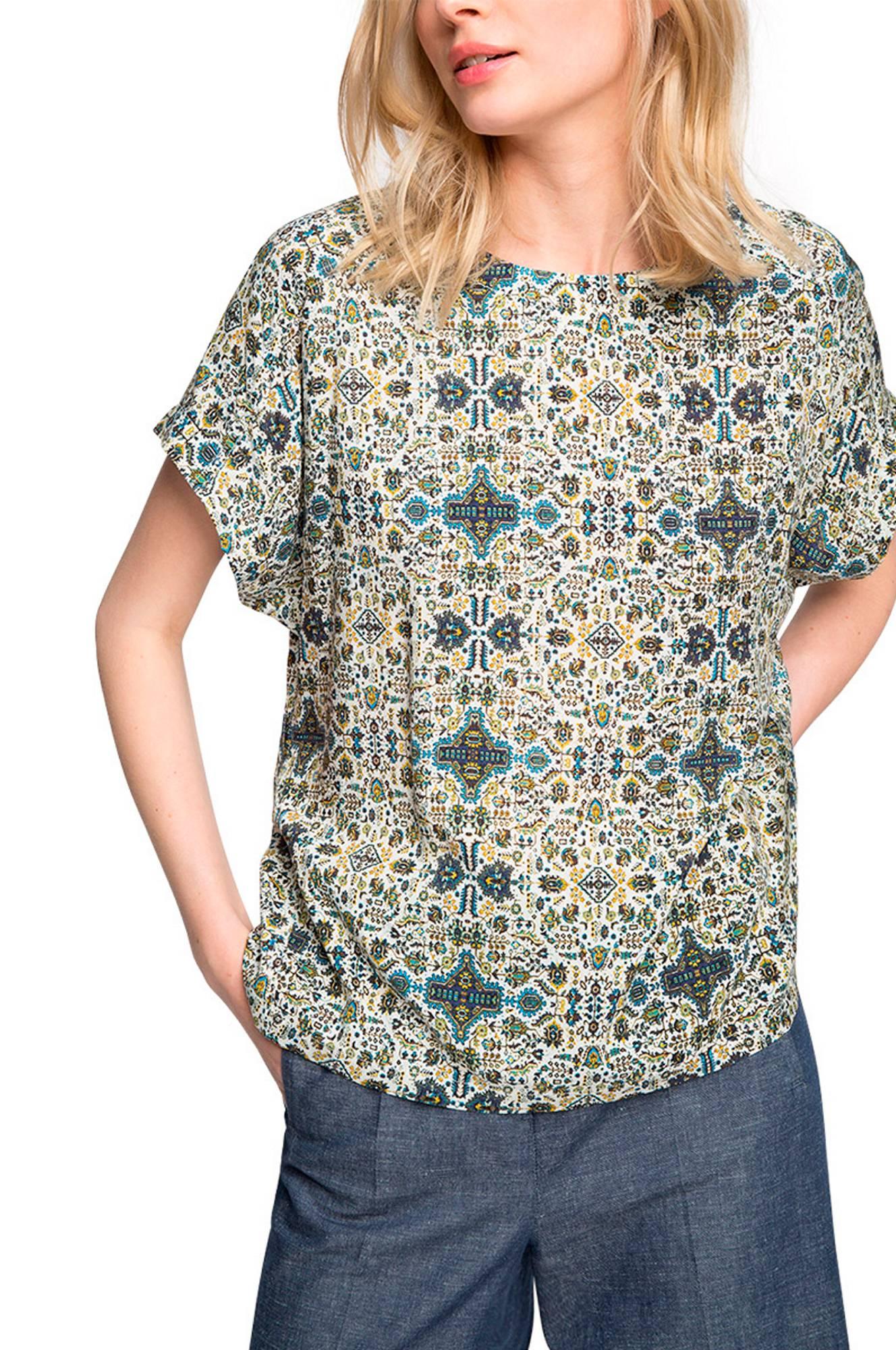 Bluse med mosaikmønster Esprit Skjorter & bluser til Kvinder i Grønmønstret