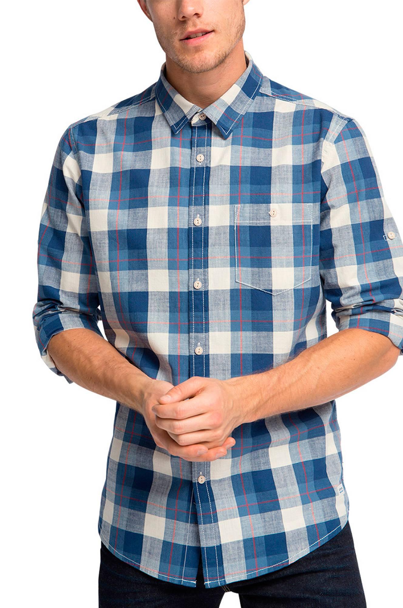 Skjorte med ærmer der kan foldes op Esprit Skjorter til Mænd i Marineblå