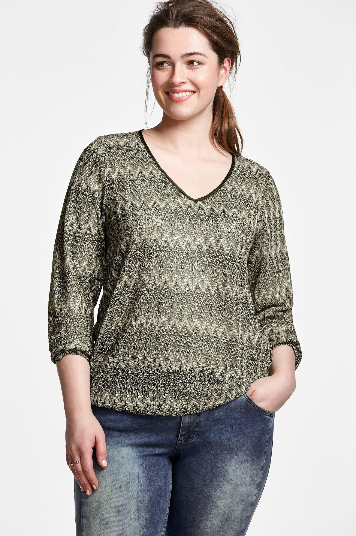 Top, mønsterstrikket Zizzi Skjorter & bluser til Kvinder i Grønmønstret