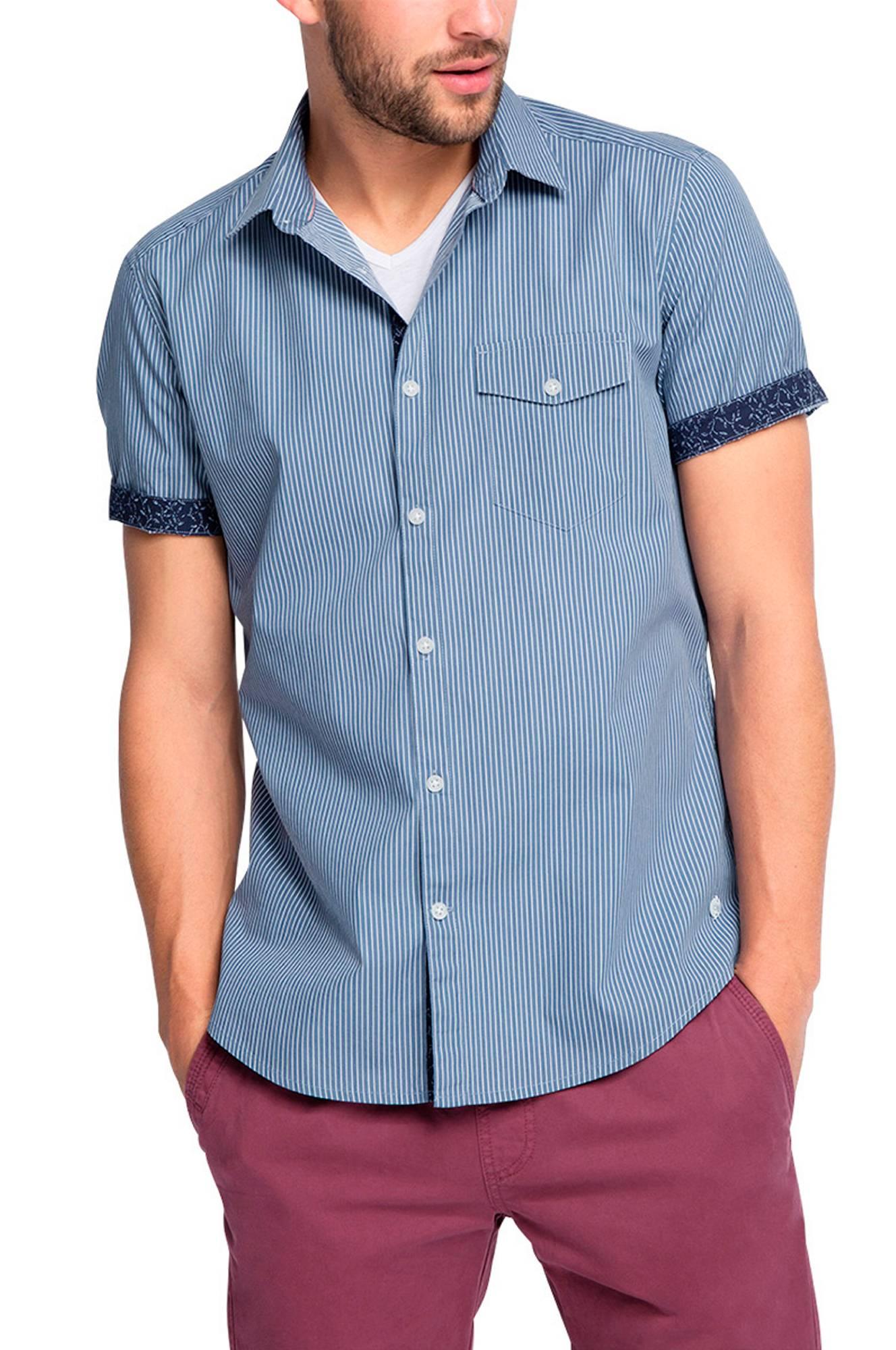 Skjorte mønstret, slim fit Esprit Skjorter til Mænd i Blå