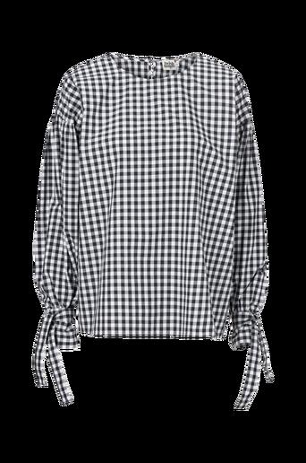 Twist & Tango Stephanie Blouse -paita. Tyylikäs ja miellyttävän väljä ruudullinen malli. Pyöreä pääntie, jossa halkio ja päällystetty nappi niskassa. Pitkät hihat, joissa kalvosin hihansuissa ja kiinniommeltu solmittava nauha kalvosimen yläosassa. Ruudullista puuvillaa. Pituus n. 68 cm koossa 38. thumbnail