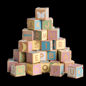 Alfabet-puupalikat 36 kpl, pastelliväriset