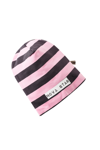 Beanie Striped Pink NB -pipo